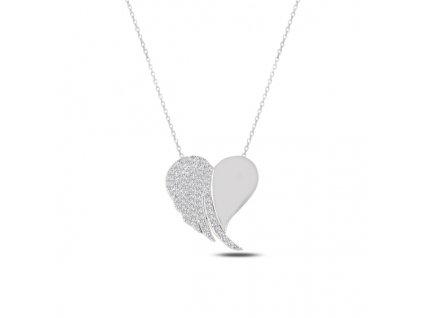 Stříbrný náhrdelník SRDCE na řetízku, krásný dárek pro holku, ženu, manželku, přítelkyni k Vánocům nebo narozeninám