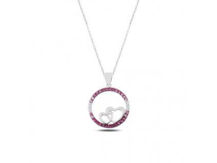 Stříbrný náhrdelník DVĚ SRDÍČKA