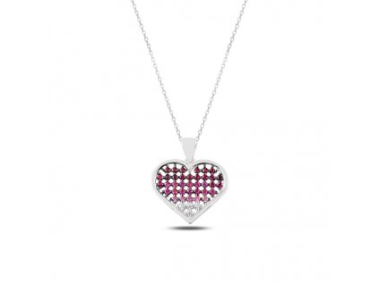 Stříbrný náhrdelník FIALOVÉ SRDCE