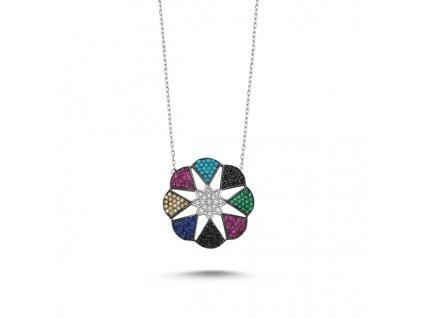 Stříbrný náhrdelník s barevnými zirkony