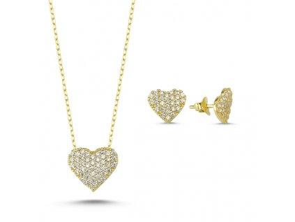 Sada stříbrných šperků ZLATÉ SRDCE