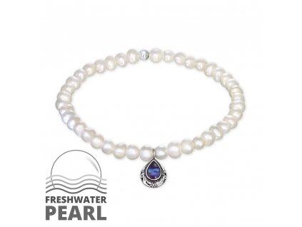 Stříbrný náramek se sladkovodními  bílými perlami a modrým opálem