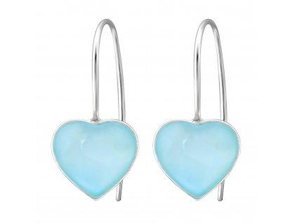 Stříbrné náušnice SRDCE BLUE