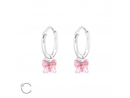 Stříbrné náušnice s růžovým SWAROVSKI krystalem ve tvaru motýlka