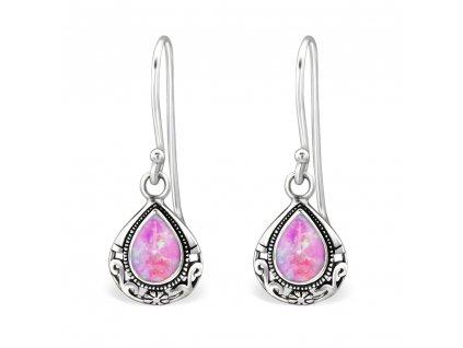 Stříbrné náušnice růžový OPAL PINK