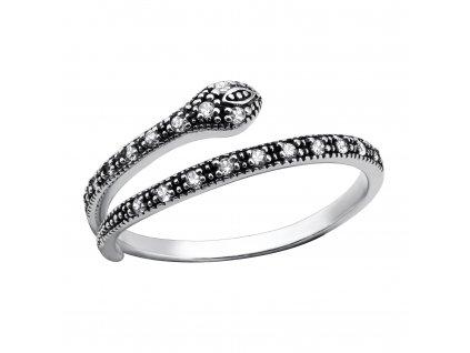 Stříbrný prsten HAD se zirkony oxidovaný