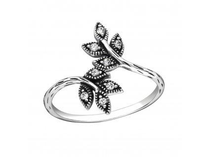 Stříbrný prsten VĚTVIČKA se zirkony