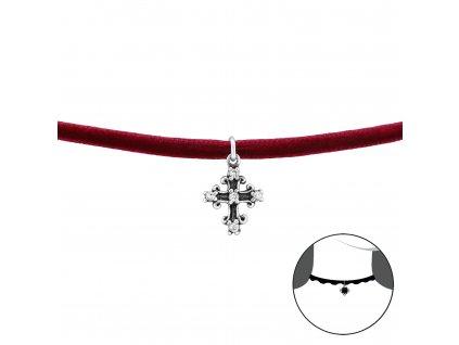 Stříbrný CHOKER náhrdelník KŘÍŽEK se zirkony