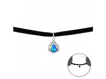 Stříbrný CHOKER náhrdelník SLZA s opálem