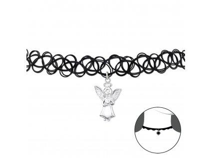 CHOKER náhrdelník se stříbrným ANDĚLEM