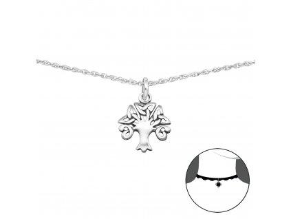 Stříbrný CHOKER náhrdelník STROM ŽIVOTA