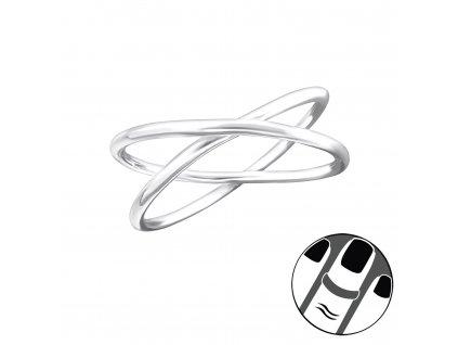 Stříbrný zkřížený midi prsten