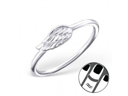 Stříbrný midi prsten KŘÍDLO