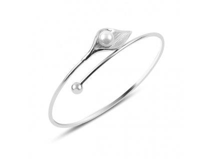 Stříbrný kulatý náramek s perlou