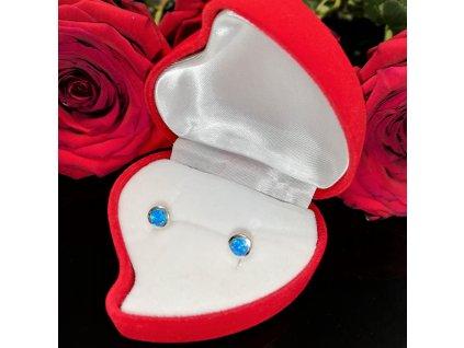 Stříbrné náušnice modrý OPÁL