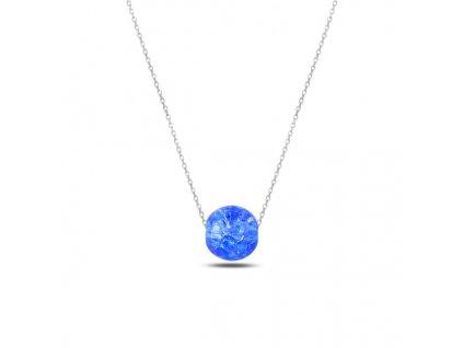Stříbrný řetízek s modrou kuličkou