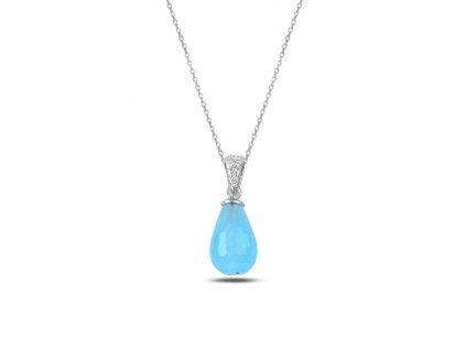 Stříbrný řetízek s modrou kapkou