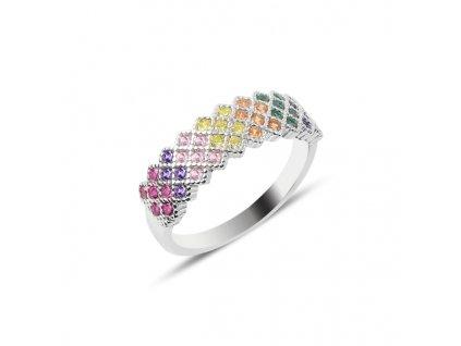 Stříbrný prsten COLORS - barevné zirkony