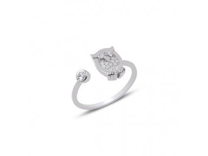 Stříbrný prsten SOVA