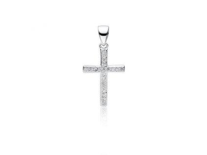 Stříbrný přívěsek KŘÍŽEK se zirkony pro ženy