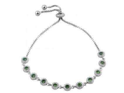 Stříbrný posuvný náramek zelený
