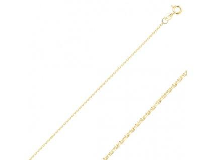 Stříbrný řetízek GOLD 50cm pozlacený zlatý
