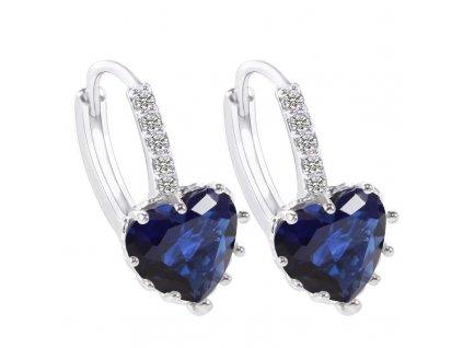 Stříbrné náušnice visací se zirkonem modré srdce