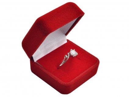 Sametová červená dárková krabička na prsten, náušnice