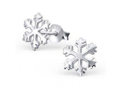 Stříbrné náušnice sněhová vločka
