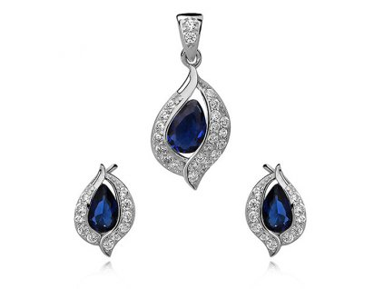 Safírová sada stříbrných šperků se zirkony
