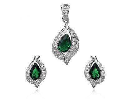 Smaragdová sada stříbrných šperků se zirkony