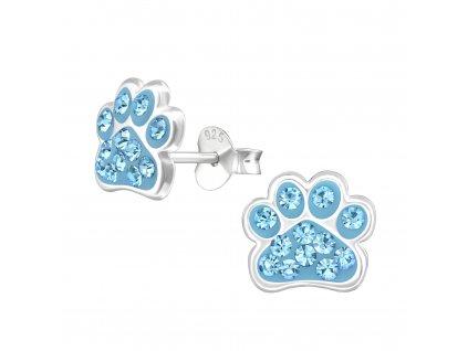 Dětské stříbrné náušnice psí TLAPKA