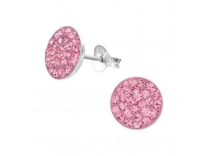 Stříbrné kulaté náušnice s růžovými krystaly