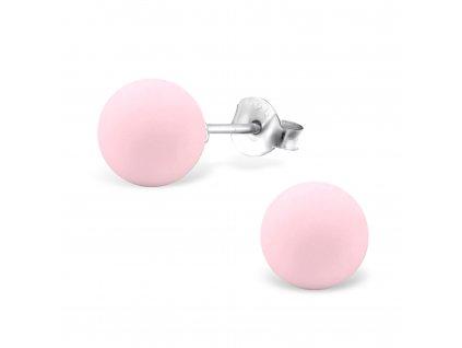 Stříbrné kuličky s pudrovou růžovou perlou 8 mm