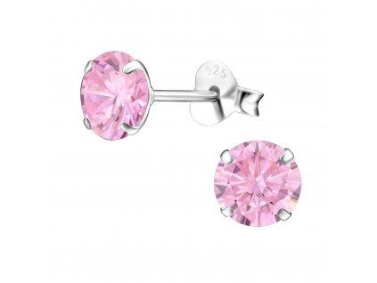 Stříbrné náušnice růžový ZIRKON  6 mm