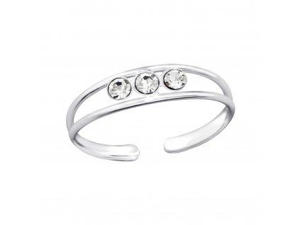 Stříbrný prsten na nohu 3 krystaly