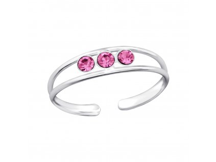 Stříbrný prsten na nohu 3 růžové krystaly