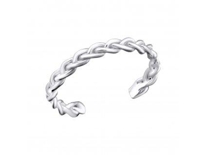Stříbrný propletený prsten na nohu
