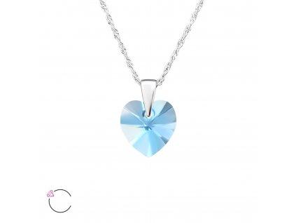 Stříbrný náhrdelník SRDCE Swarovski Akvamarín