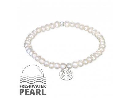 Stříbrný náramek se sladkovodními perlami STROM ŽIVOTA