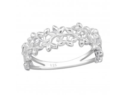 Stříbrný širší květinový prsten