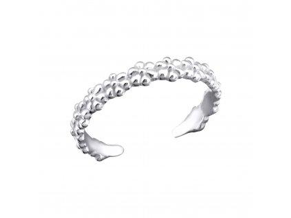 Stříbrný květinový prsten na nohu