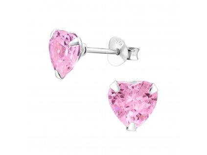 Zirkonové srdce - stříbrné růžové náušnice