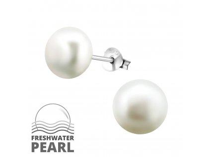 Stříbrné náušnice bílé PERLY 9 mm