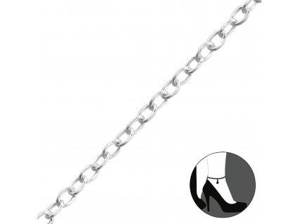 Stříbrný řetízek na nohu 24-27cm, nastavitelná velikost