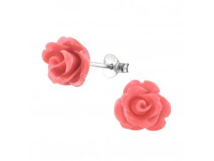 Stříbrné náušnice ROZÁRIE růže