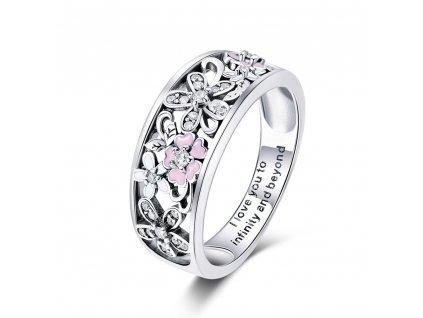 Stříbrný prsten TŘEŠŇOVÝ KVĚT