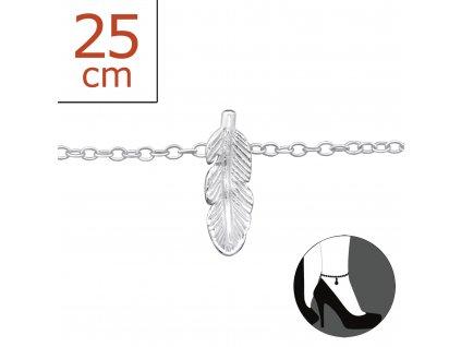 stříbrný řetízek na nohu pírko
