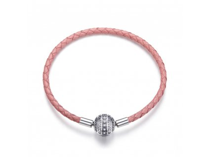 Růžový kožený náramek se stříbrnou kuličkou