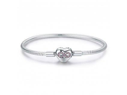 Stříbrný náramek NEKONEČNÉ SRDCE, krásný dárek pro ženu, partnerku, manželku, přítelkyni.